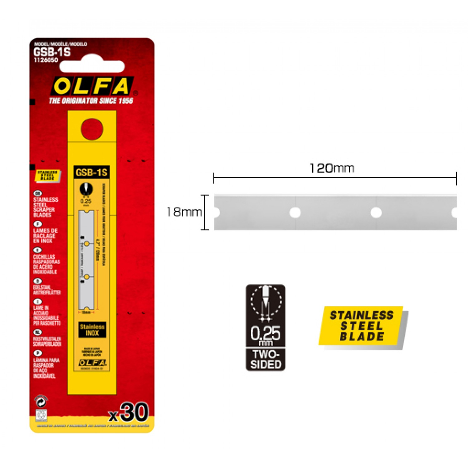 Olfa GSB-1S Stainless Steel Scraper Blades, 30-Pack, Dimensions