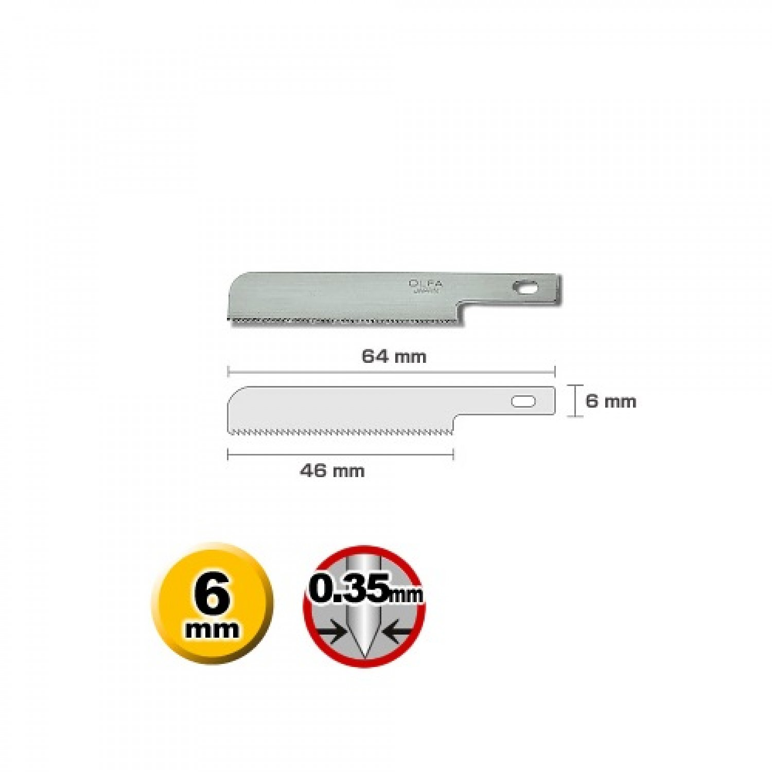 Olfa KB4-WS-3 Craft Saw Blade Dimensions
