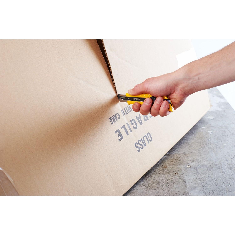 OLFA LFB Blade cutting cardboard