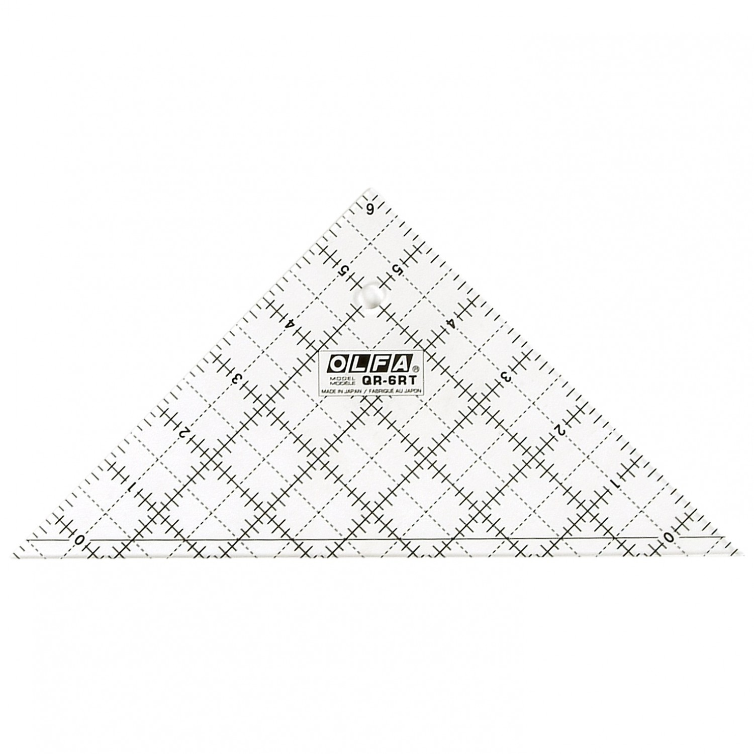 """Olfa QR-6RT 6 1/2"""" Right Triangle Ruler Non-Slip, Frosted"""