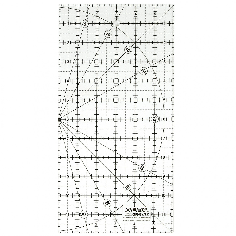 "Olfa QR-6x12  6"" x 12"" Acrylic Ruler Non-Slip, Frosted"