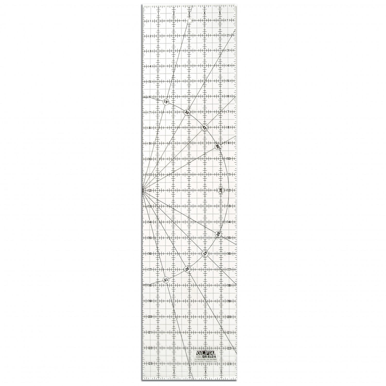 "Olfa QR-6x24 6"" x 24"" Acrylic Ruler Non-Slip, Frosted"