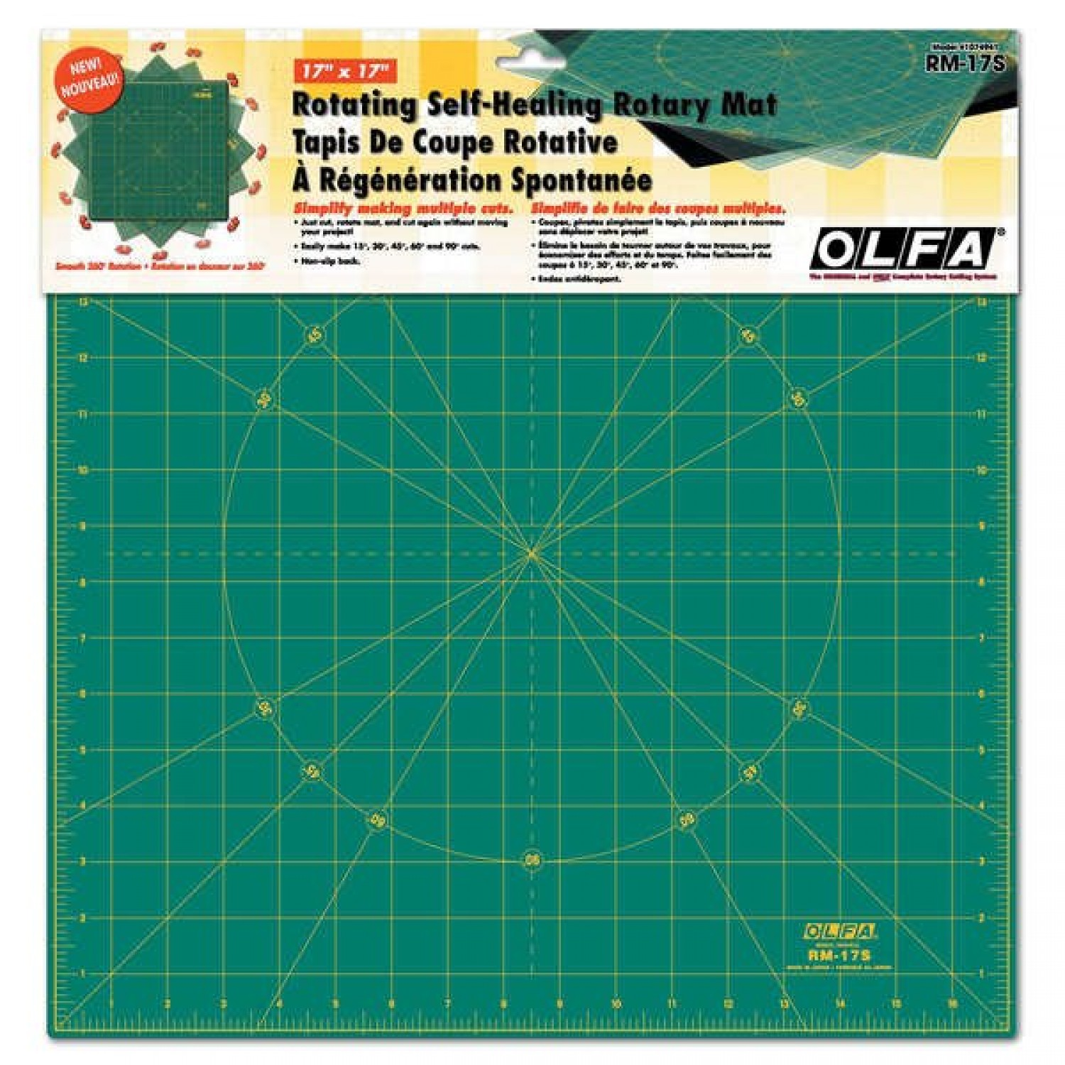 "Olfa RM-17S 17"" Square Rotating Cutting Mat Package"