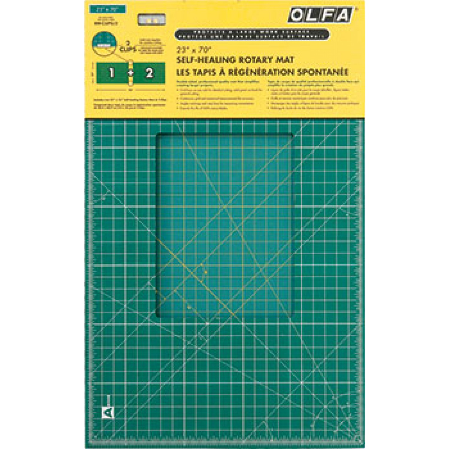 "Olfa RM-CLIPS/2 Continuous Grid Cutting Mat Set 23"" x 70"" Package"