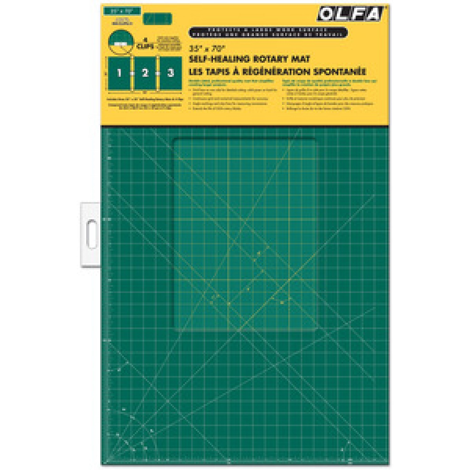 "Olfa RM-CLIPS-3 Continuous Grid Cutting Mat Set 35"" x 70"" Package"