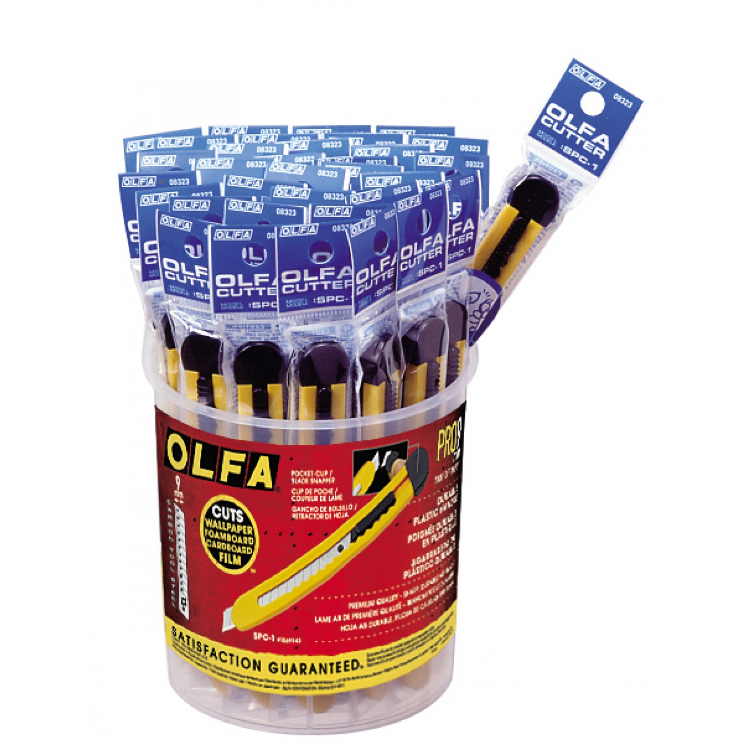 Olfa SPC-1/40 Plastic Standard-Duty Cutters in bucket display